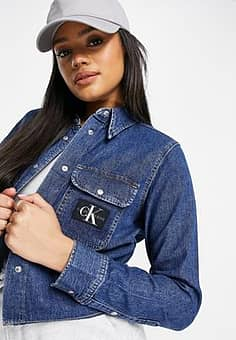 cropped denim shirt in mid blue
