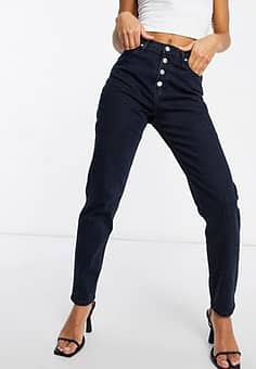 mom jean in blue black-Navy