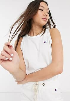 reverse weave logo cropped tank top co-ord-White