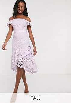 bardot lace midi dress with flippy hem in lilac-Purple