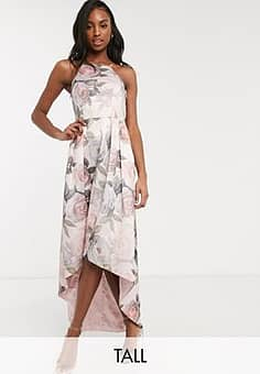hi low dress in soft floral-Pink