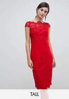 lace midi pencil dress-Red