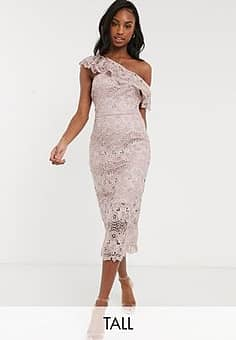 lace pencil dress with asymmetric ruffle in mink-Pink