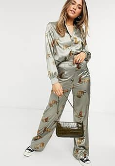 tiger print wide leg trouser co-ord in brown