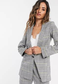 boxy tailored jacket in light check-Grey