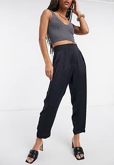 Closet cropped tailored trousers in navy