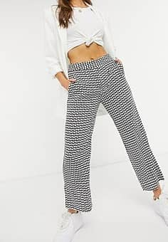 Closet flared tailored trousers in micro heart print-Black