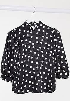 high neck balloon sleeve blouse in black with polka dot