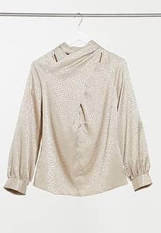 high neck blouse in stone-White