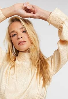high neck long sleeve blouse in soft gold