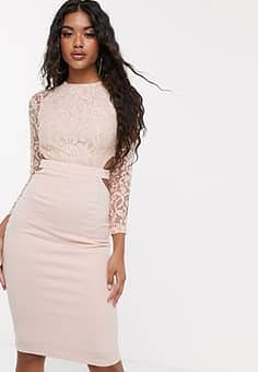 Club L  lace cut out midi dress-Pink