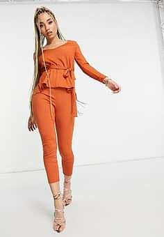 ribbed fitted trousers in orange co-ord