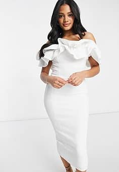 Club L ruffle frill detail midi pencil dress in white