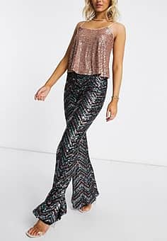 sequin patterned wide leg trouser in bronze-Brown