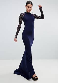Club L  Open Back Slinky Fishtail Maxi Dress With Detailed Lace Open Back-Navy