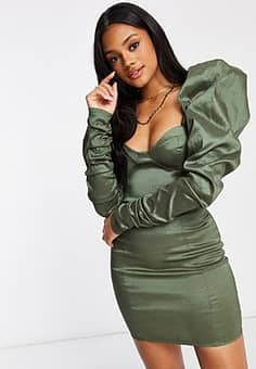 Club L  ruched bodycon mini dress with puff sleeve detail in sage-Green