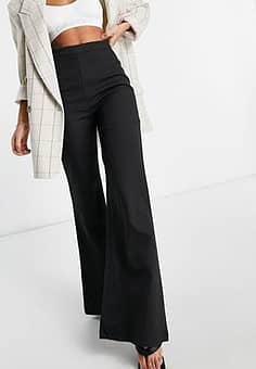 tailored flare trouser in black