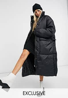 Collusion longline puffer jacket in black