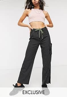 pinstripe trouser with pocket-Black