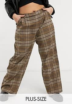 Plus balloon leg trousers in brown check co-ord