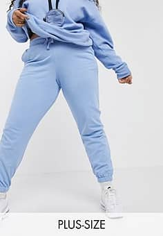 Plus exclusive colour skinny joggers in light blue co-ord