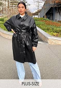 Collusion Plus exclusive PU trench coat in black-Brown
