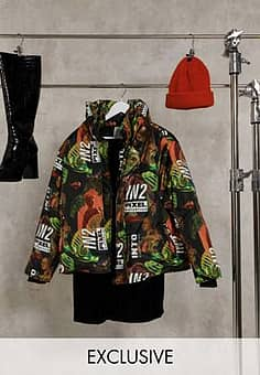 Collusion Unisex printed padded puffer jacket-Multi