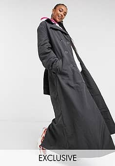 Collusion wadded belted trench in charcoal-Green