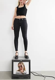 x001 low rise skinny jeans in washed black