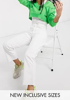 x005 cropped straight leg jeans in white