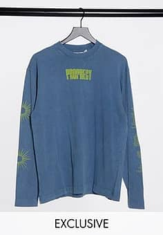 Collusion COLLUSON Unisex long sleeve t-shirt with print in acid wash blue