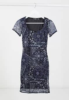 Daisy Street 90's mini dress in patchwork floral-Navy
