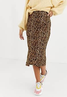 button front midi skirt in leopard print-Brown