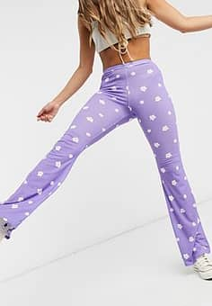 flares in daisy print-Purple