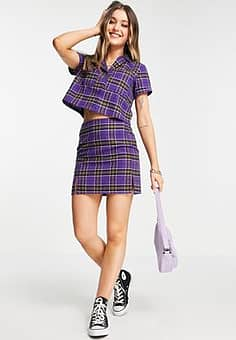 mini skirt in vintage check co-ord-Purple