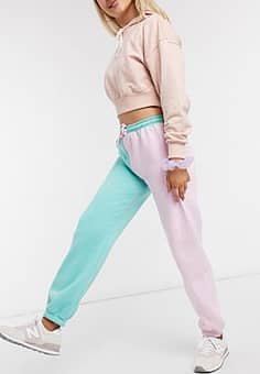 relaxed colour block joggers with vintage new york print co-ord-Pink