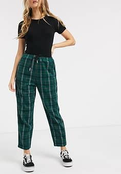 relaxed straight leg trousers with drawstring waist in check-Green