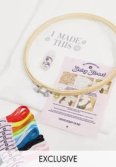 relaxed t-shirt with I made this DIY embroidery kit-White