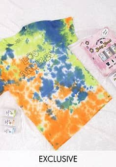 relaxed t-shirt with los angeles print DIY tie dye kit-Multi