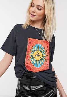 relaxed t-shirt with tarot print-Black