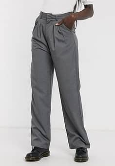 relaxed wide leg trousers with pleat front co-ord-Grey