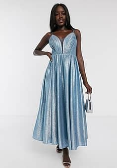 plunge front pleated front midaxi dress in blue glitter