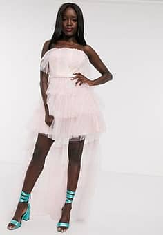 tulle frilly off shoulder high low full prom maxi dress with removable train in pink