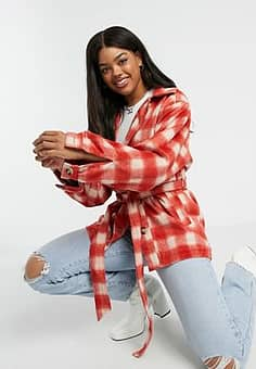 belted shacket in bright brushed check-Red