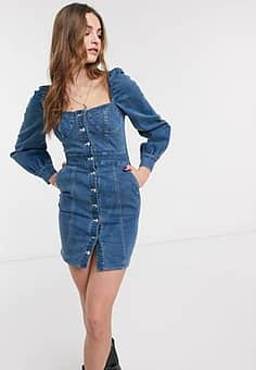 button front mini dress with bust detail in denim-Blue