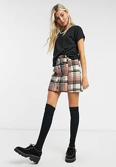 Emory Park button front mini skirt in brushed check co-ord-Multi