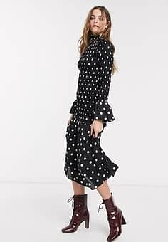 Emory Park high neck maxi dress in spot-Black