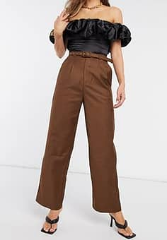 high waist belted trousers in chocolate-Brown