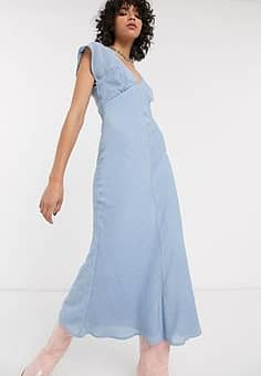 Emory Park maxi tea dress in fine stripe-Blue