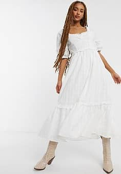 Emory Park maxi tea dress with sweetheart neck in fine stripe cotton-White